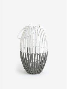 Hnedo-biely drevený lampáš Dakls