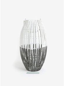 Hnedo-biely veľký drevený lampáš Dakls