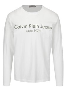 Bílé pánské tričko s potiskem a dlouhým rukávem Calvin Klein Jeans Treavik
