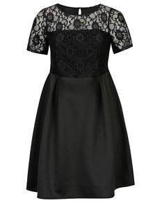 Čierne šaty s čipkovaným topom Dorothy Perkins Curve