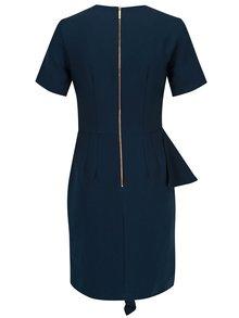 Tmavě modré pouzdrové šaty s volánem Closet
