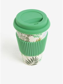 Krémovo-zelený vzorovaný cestovný hrnček kaemingk