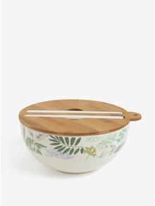 Bol pentru salata cu capac si tacamuri crem cu print floral Kaemingk