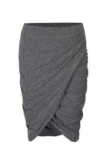 Šedá žíhaná sukně s řasením na bocích Noisy May New Ola