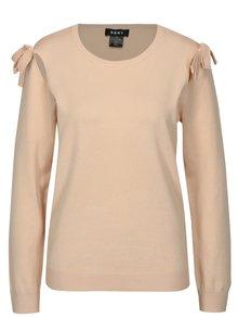 Svetloružový sveter s prestrihmi na ramenách DKNY