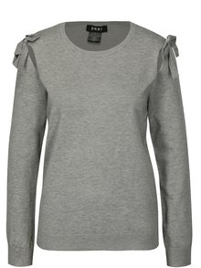 Sivý sveter s prestrihmi na ramenách DKNY