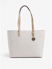 Geanta shopper bej cu print logo si pandant - DKNY Bryant