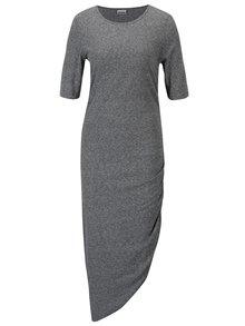 Sivé asymetrické šaty s riasením na boku Noisy May Ola