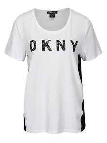 Bielo-čierne tričko s prekladanou zadnou časťou DKNY