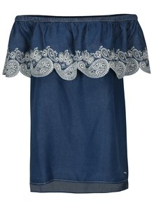 Bluza albastra din denim cu decolteu pe umeri DKNY