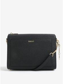 Černá kožená crossbody kabelka s detaily ve zlaté barvě DKNY Bryant
