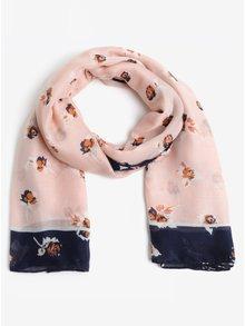 Modro-růžový vzorovaný šátek Pieces Imalia
