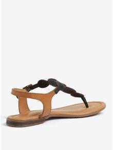 Tmavohnedé kožené perforované sandále s.Oliver