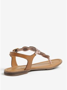 Staroružové kožené perforované sandále s.Oliver