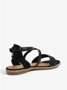 Čierne dámske kožené lesklé sandále s.Oliver
