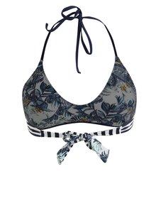 Bielo-modrý kvetovaný obojstranný horný diel plaviek Pieces Isabella