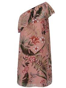 Rochie roz cu decolteu pe un umar si print floral ONLY Maya