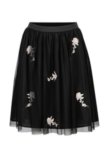 Černá sukně s květinovou výšivkou ONLY Lana