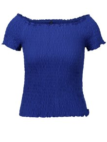 Bluza cropped albastra cu umeri expusi ONLY Sammi