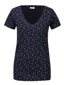 Tricou bleumarin cu print ancore Jacqueline de Yong Cassandra