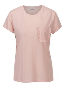Světle růžové tričko s kapsou Jacqueline de Yong Calm