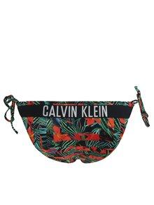 Slip de baie negru cu print tropical si snururi laterale - Calvin Klein