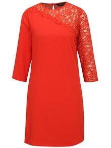 Červené šaty s 3/4 rukávom a čipkou Dorothy Perkins