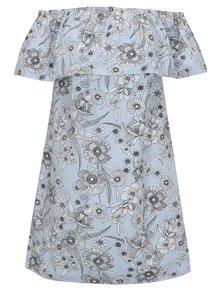 Bielo-modré kvetované šaty s odhalenými ramenami Dorothy Perkins