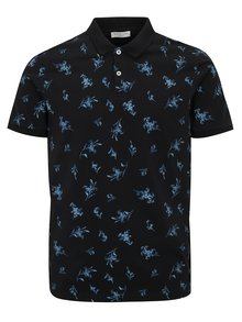Tricou polo bleumarin cu print floral - Selected Homme Flower