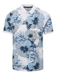 Tricou polo alb&albastru cu print floral - Selected Homme Flower