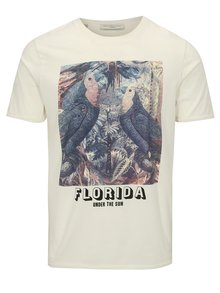 Tricou alb cu print - Selected Homme New Austin