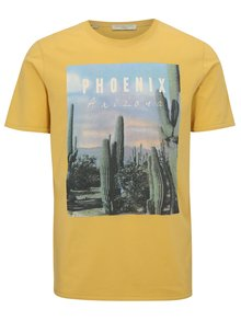 Tricou galben cu print - Selected Homme New Austin