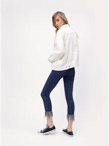 Jacheta alba oversized din denim MISSGUIDED