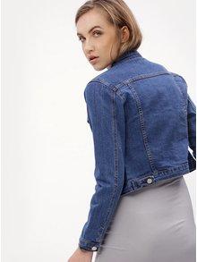 Jacheta albastra crop din denim MISSGUIDED