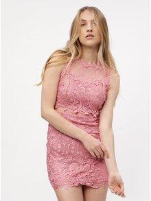 Růžové krajkové šaty MISSGUIDED