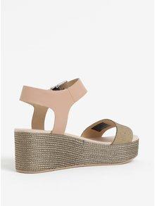Béžové kožené sandály na platformě Tommy Hilfiger