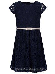 Tmavě modré krajkové šaty s páskem 5.10.15.