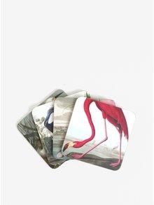 Set de 4 suporturi de pahar Magpie Birds cu print