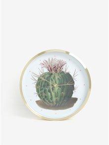 Bielo-zelené nástenné hodiny s motívom kaktusu Magpie Botanical