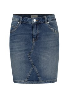 Fusta scurta albastra din denim cu aspect prespalat - Selected Femme Maya