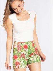 Pantaloni scurti verzi cu print tropical si terminatie ondulata Blutsgeschwister