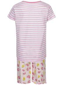 Bílo-růžové pruhované holčičí pyžamo s potiskem 5.10.15.