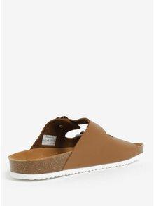 Papuci din piele maro deschis cu catarame pentru barbati - Pepe Jeans Bio basic