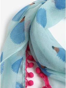 Modrá dievčenská šatka s brmbolcami a motívom ježkov 5.10.15.
