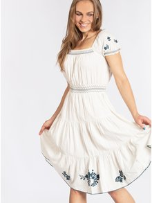 Biele šaty s kvetovanou výšivkou Blutsgeschwister