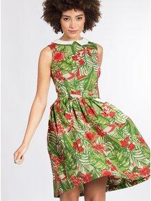 Krémovo-zelené vzorované šaty s odnímateľným golierikom Blutsgeschwister