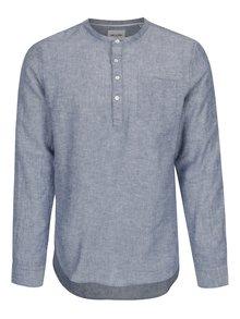 Modrá lněná slim košile ONLY & SONS Caiden