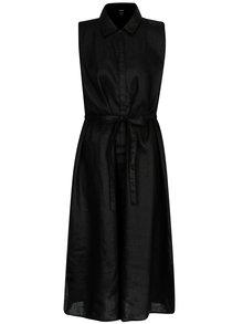 Černé lněné košilové šaty DKNY
