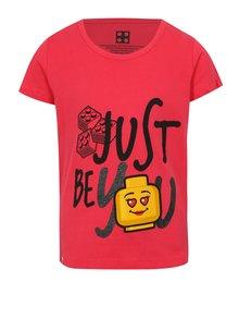 Tmavoružové dievčenské tričko s potlačou a trblietkami Lego Wear