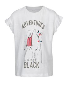Biele dievčenské tričko s potlačou ťavy name it Katly